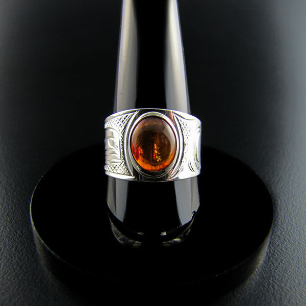 Sterling Silver and Amber Signet  Ring