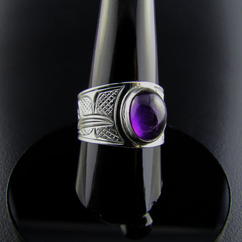 Sterling Silver and Amethyst Signet Ring