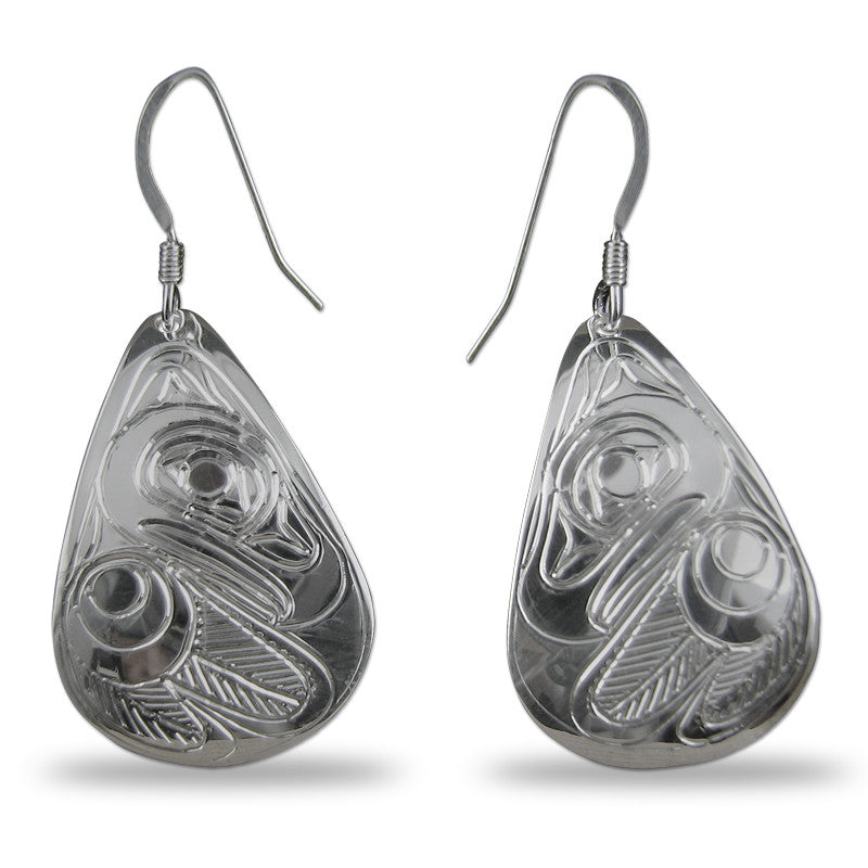 Eagle Teardrop Sterling Silver Earrings