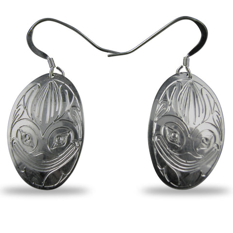 Frog Oval Sterling Silver Earrings