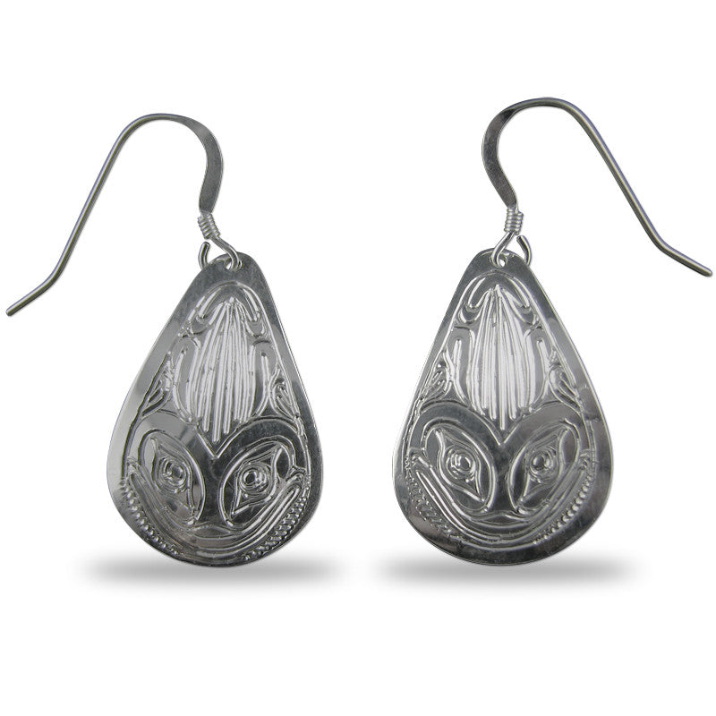 Frog Teardrop Sterling Silver Earrings