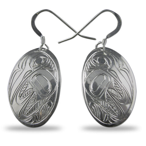 Hummingbird Oval Sterling Silver Earrings