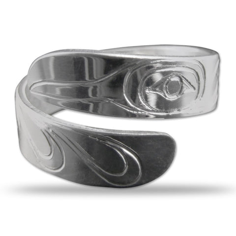 Hummingbird Silver Wrap Ring Small