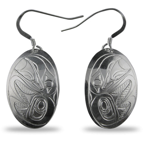 Raven Oval Sterling Silver Earrings