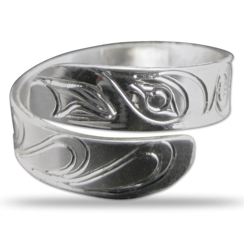 Raven Silver Wrap Ring Small
