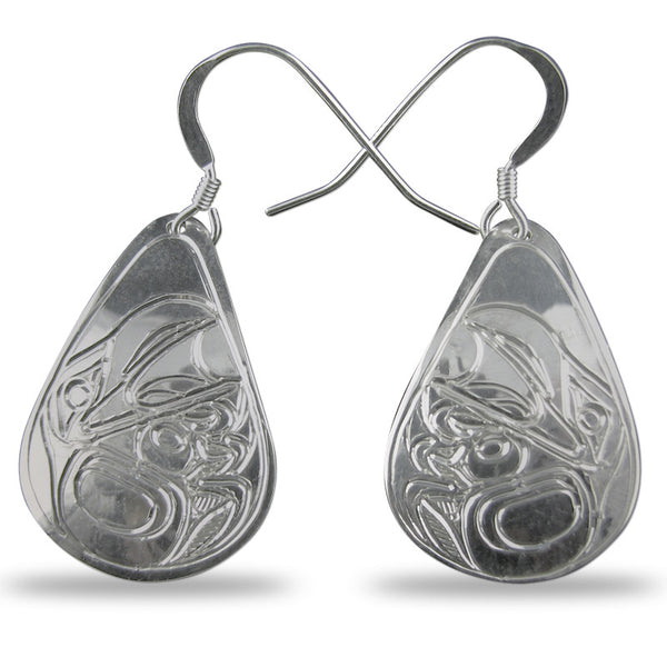 Raven Teardrop Sterling Silver Earrings