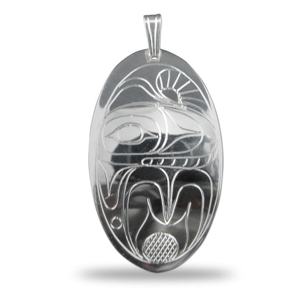 Whale Oval Sterling Silver Pendant