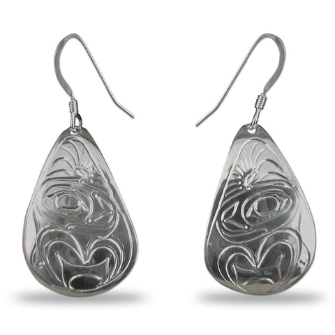 Whale Teardrop Sterling Silver Earrings