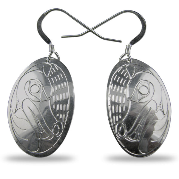 Wolf Oval Sterling Silver Earrings
