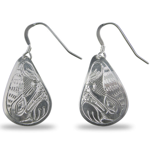 Wolf Teardrop Sterling Silver Earrings