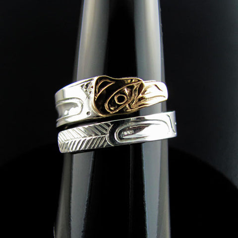 Haida Raven Gold and Silver Wrap ring