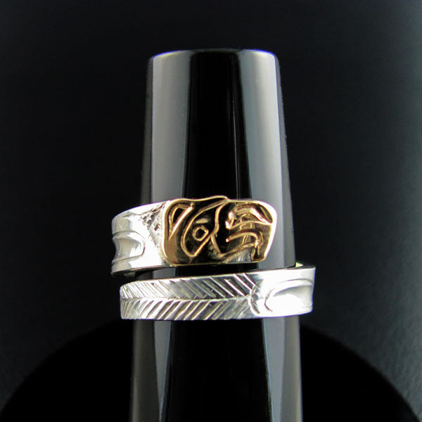 Haida Eagle Gold and Silver Wrap ring