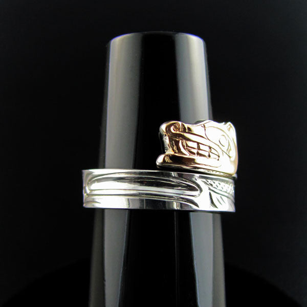 Haida Wolf Gold and Silver Wrap ring