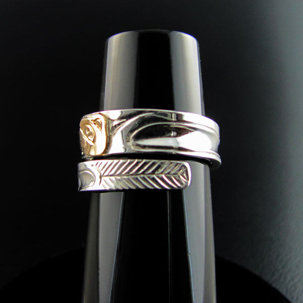 Haida Hummingbird Gold and Silver Wrap ring