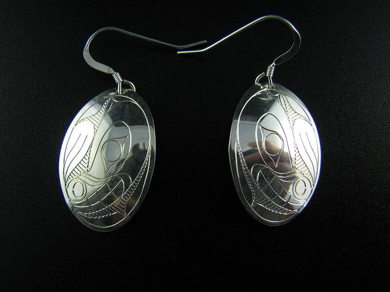 Bear Oval Sterling Silver Earrings