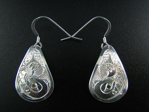 Bear Teardrop Sterling Silver Earrings