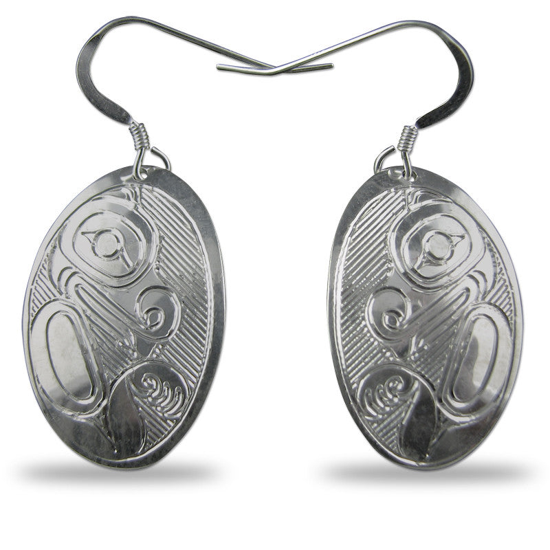Beaver Oval Sterling Silver Earrings