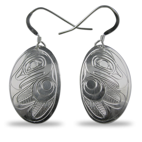 Eagle Oval Sterling Silver Earrings