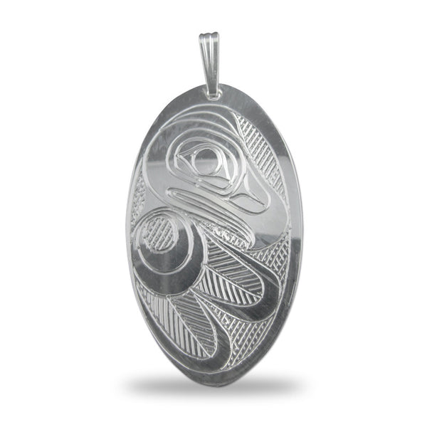 Eagle Oval Sterling Silver Pendant