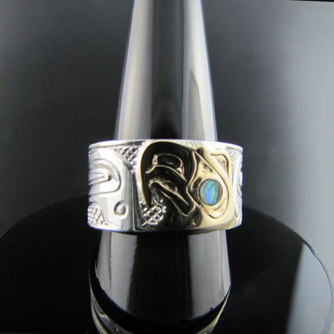 Haida Eagle Gold, Silver and Abalone Band