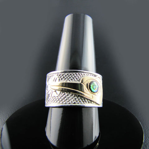 Haida Hummingbird Gold, Silver and Abalone Band
