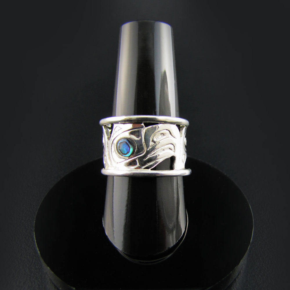 Haida Silver Eagle Cut-Out Ring with Abalone