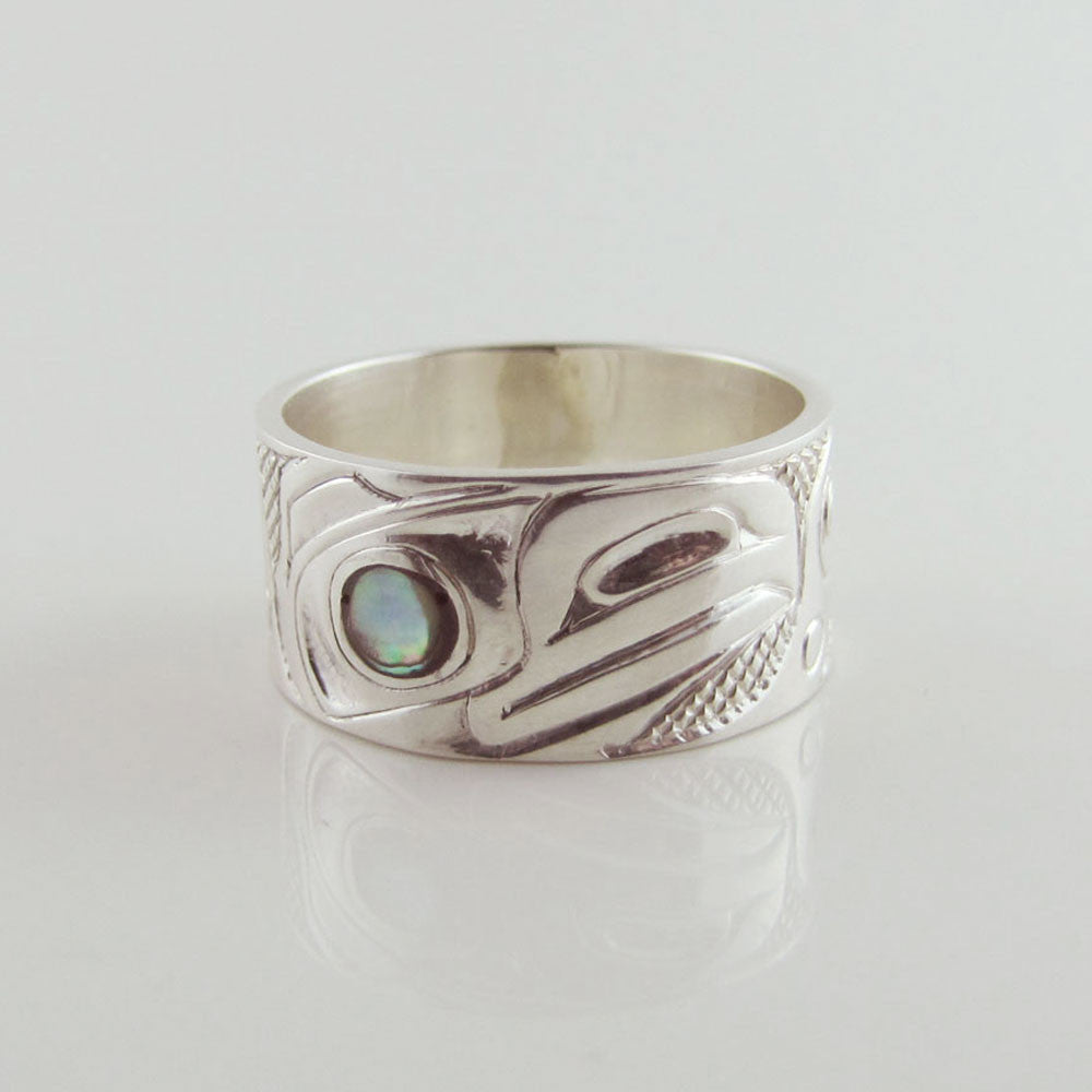 Haida Silver Raven Band with Abalone