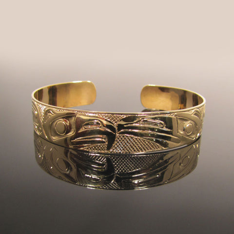 Eagle and Raven Native Gold Bracelet