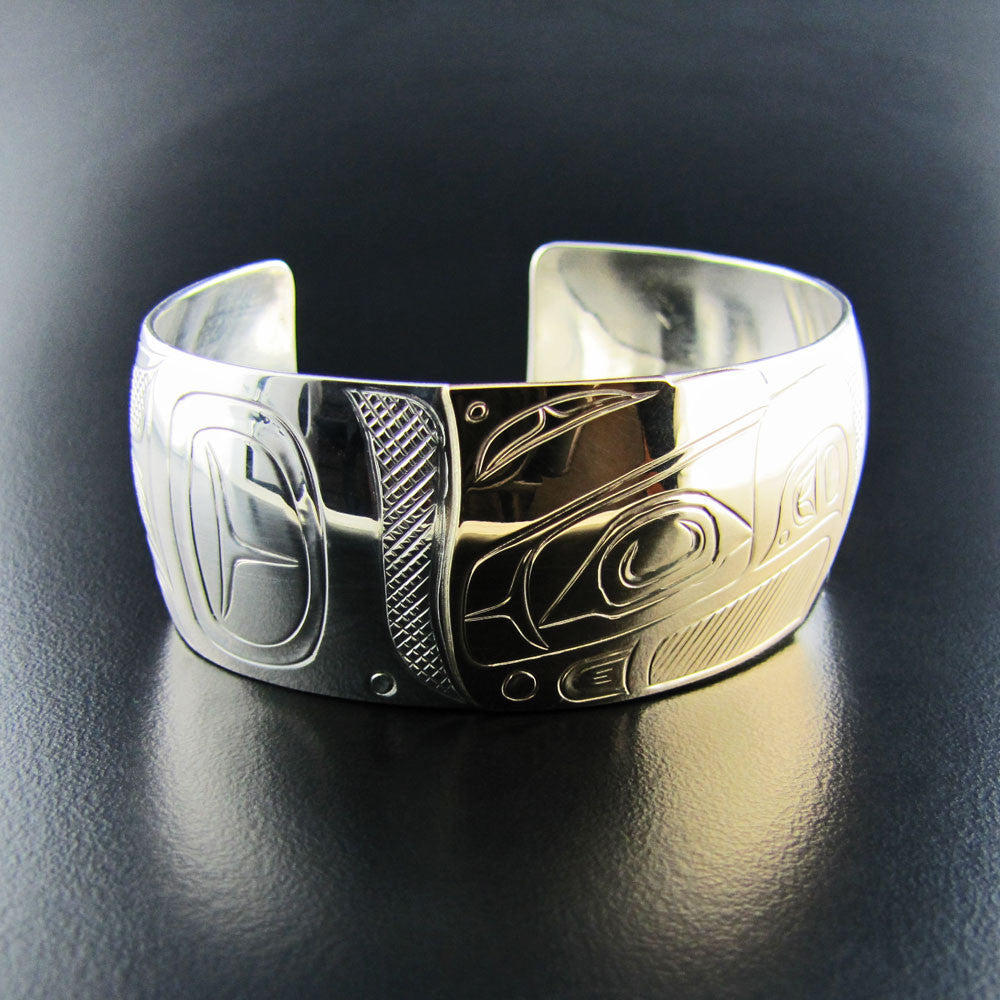 Eagle Silver and Gold 1 Inch Bracelet