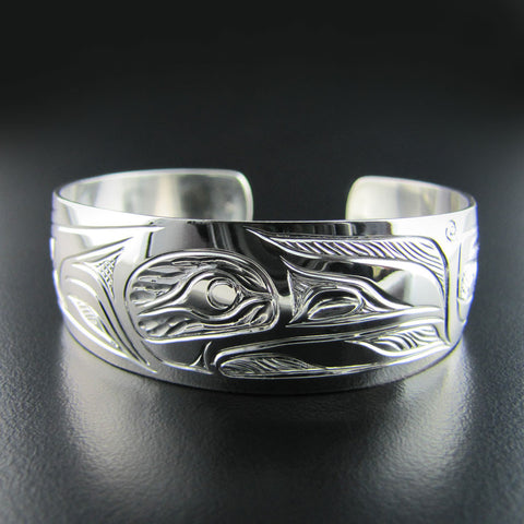 Silver Raven 3/4 inch Wide Native Bracelet