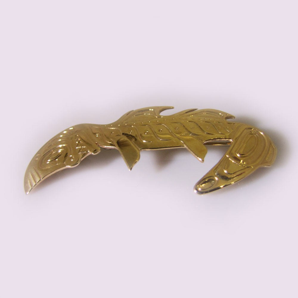 Gold Haida Shark Pendant Brooch