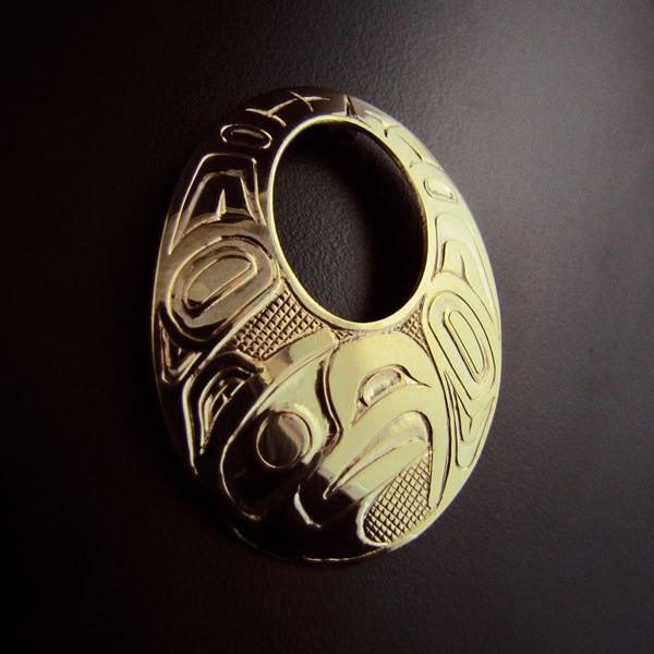 Eagle Gold Haida Oval Pendant
