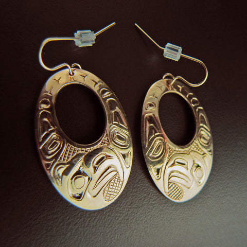 Eagle Gold Haida Oval Earrings