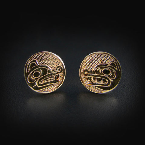 Gold Haida Wolf Studs / Earrings