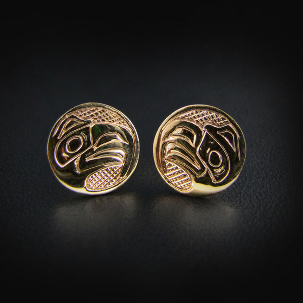 Gold Haida Eagle Studs / Earrings
