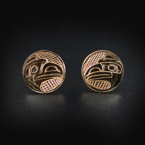 Gold Haida Raven Studs / Earrings