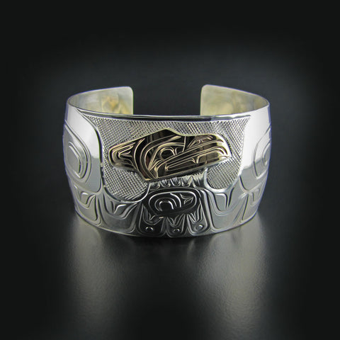 Large Silver and Gold Raven Bracelet