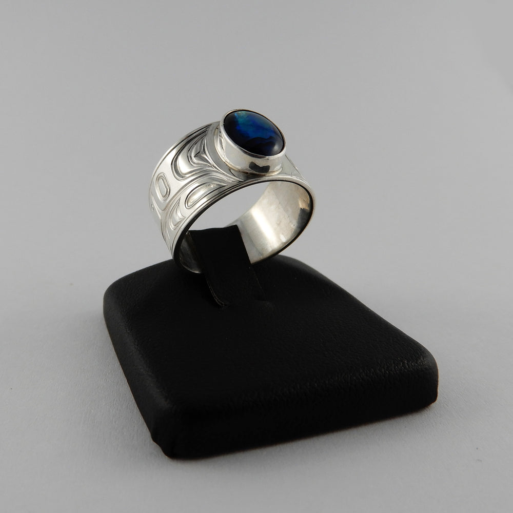 Silver and Abalone Signet Ring with Orca Design