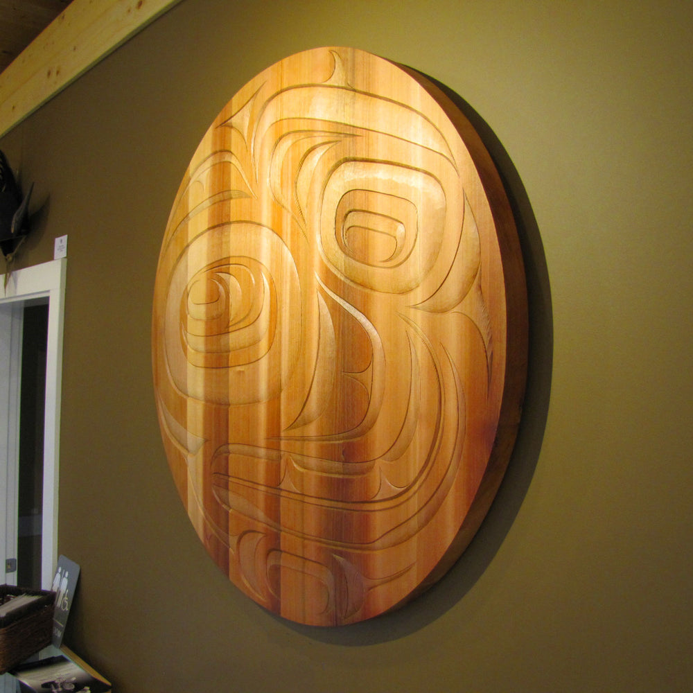 Bear and Salmon Cedar Panel