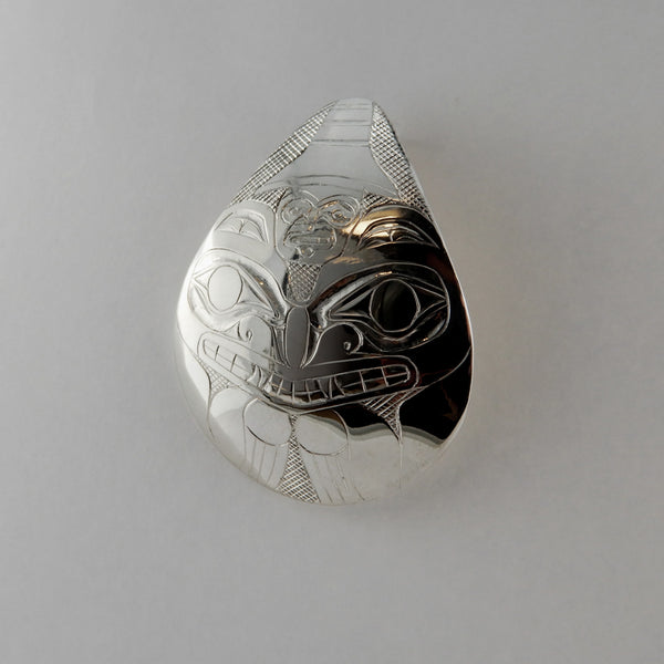 Haida Bear and Chief Silver Pendant