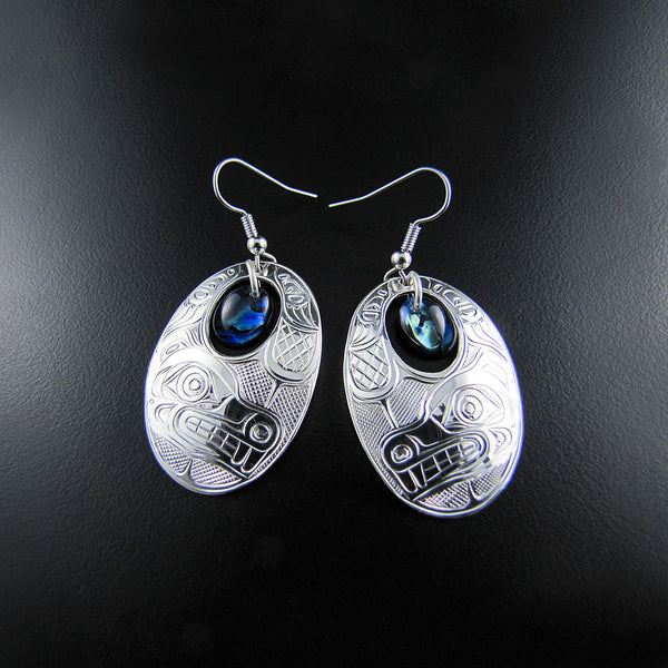 Beaver Silver Earrings with Abalone