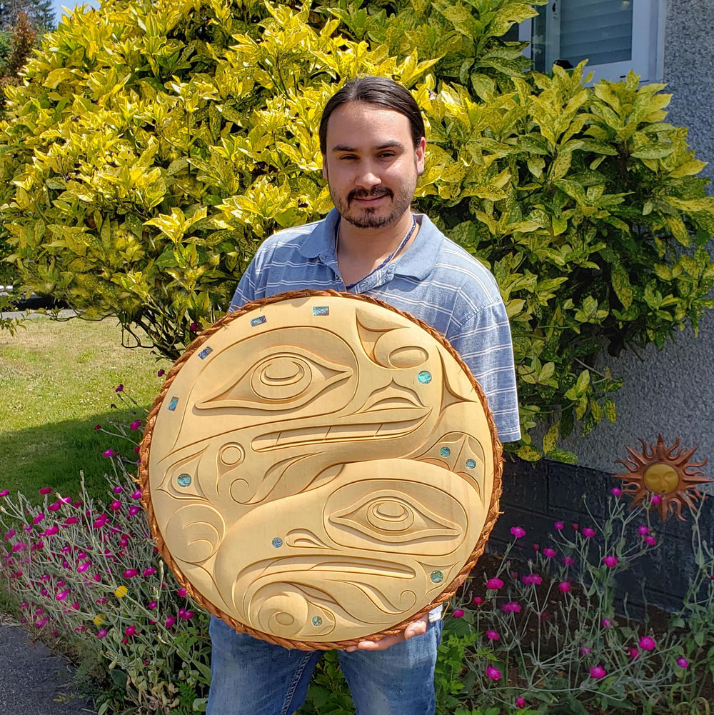 Raven and Sea Serpent Cedar Panel