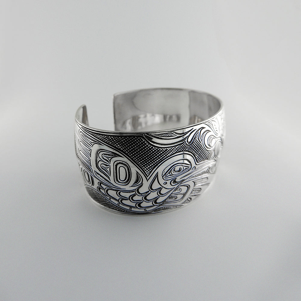 Hummingbird with Flowers Silver Bracelet