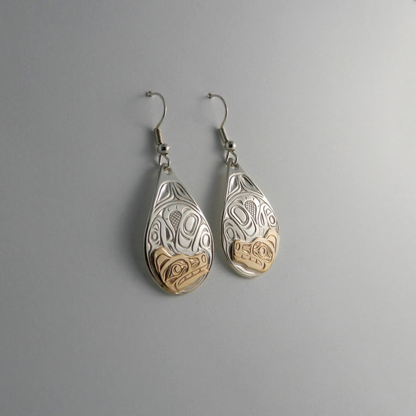 Wolf Silver and Gold Earrings