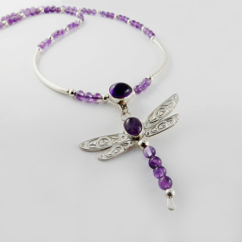 Dragonfly Silver Necklace with Amethyst