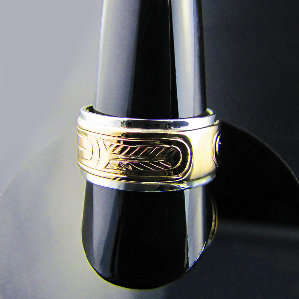 Eagle Silver with Gold Band