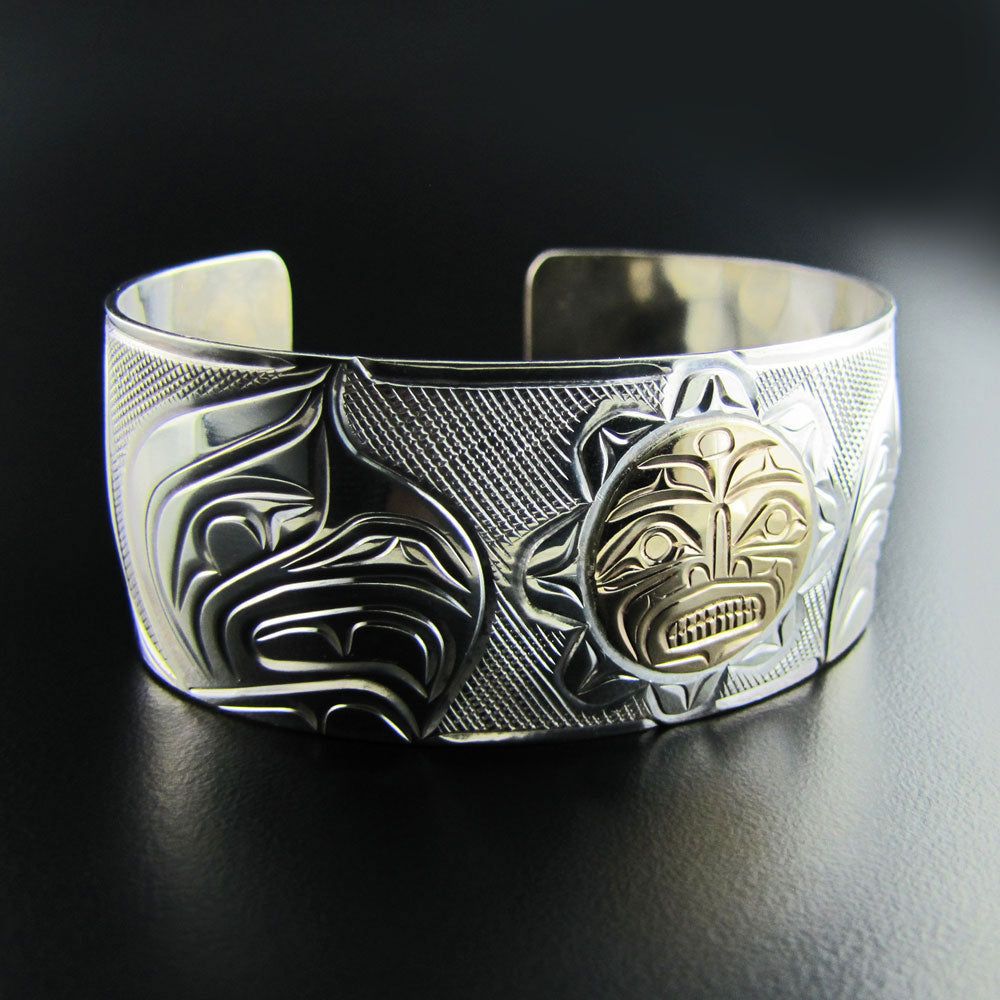 Sun Eagle Silver and Gold Bracelet