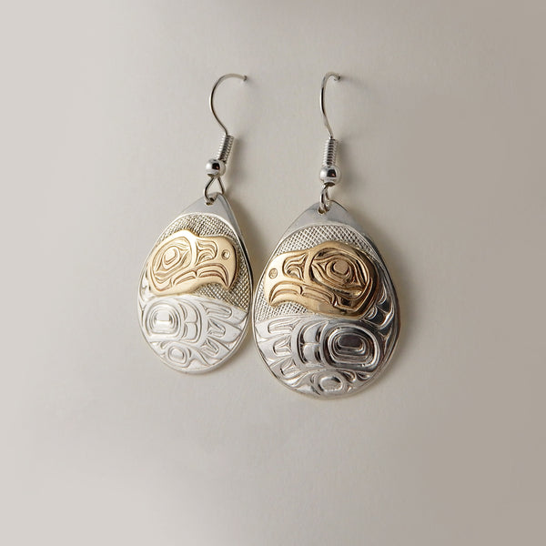 Eagle Silver and Gold Earrings