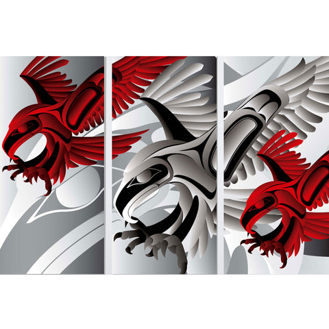 Eagle Landing Triptych Limited Edition Print by Alano Edzerza