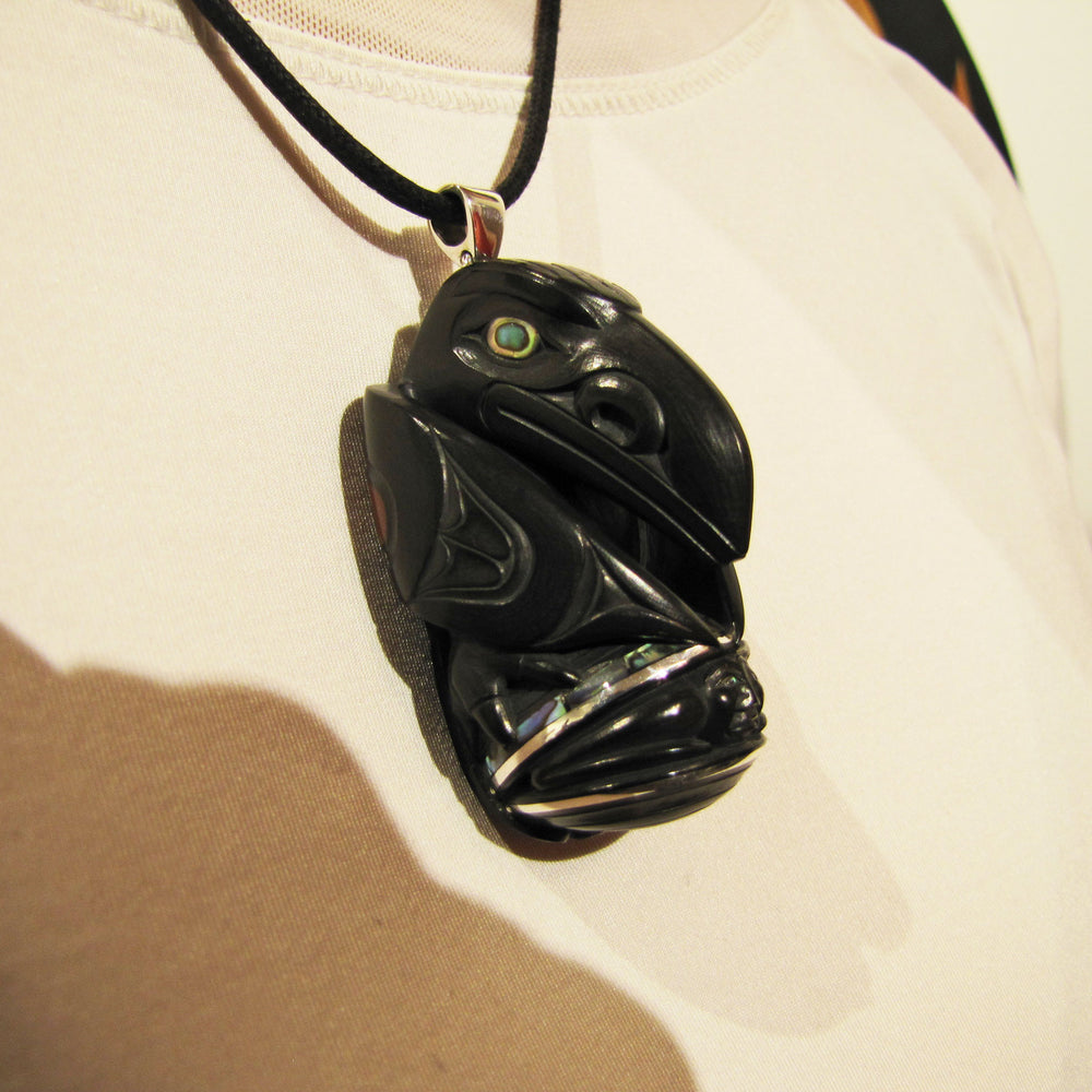 Argillite First Man Rattle Pendant by Darrell White